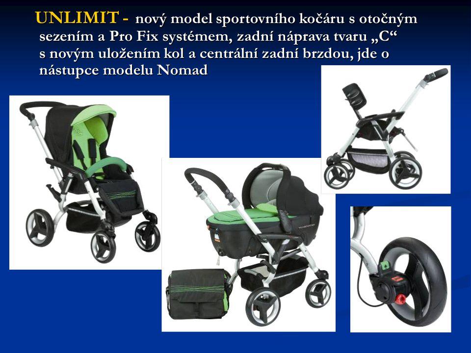"""UNLIMIT - nový model sportovního kočáru s otočným sezením a Pro Fix systémem, zadní náprava tvaru """"C s novým uložením kol a centrální zadní brzdou, jde o nástupce modelu Nomad UNLIMIT - nový model sportovního kočáru s otočným sezením a Pro Fix systémem, zadní náprava tvaru """"C s novým uložením kol a centrální zadní brzdou, jde o nástupce modelu Nomad"""