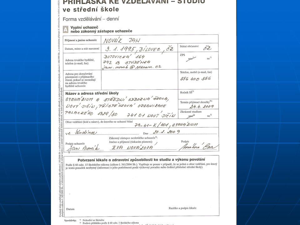Součástí přihlášky jsou tyto doklady nebo ověřené kopie: Lékařský posudek o zdravotní způsobilosti (na žádost ředitele SŠ – uvedeno v katalogu SŠ) Lékařský posudek o zdravotní způsobilosti (na žádost ředitele SŠ – uvedeno v katalogu SŠ) podle MF se jedná o lékařský výkon v osobním zájmu – hrazený uchazečem (nehrazený ZP) Rozhodnutí o zdravotním znevýhodnění (ZTP) Rozhodnutí o zdravotním znevýhodnění (ZTP) Posudek z PPP (u žáků s VPU), obsahující vyjádření o doporučení vhodného postupu při konání přijímací zkoušky – pokud budete vyžadovat u SŠ Posudek z PPP (u žáků s VPU), obsahující vyjádření o doporučení vhodného postupu při konání přijímací zkoušky – pokud budete vyžadovat u SŠ Doklady související s kritérii přijímacího řízení stanovenými ředitelem SŠ (výstupní hodnocení, doklady o výsledcích v odborných soutěžích, o publikační činnosti, o získaných dílčích kvalifikacích,…) Doklady související s kritérii přijímacího řízení stanovenými ředitelem SŠ (výstupní hodnocení, doklady o výsledcích v odborných soutěžích, o publikační činnosti, o získaných dílčích kvalifikacích,…) Vysvědčení z posledních dvou ročníků, ve kterých uchazeč plní povinnou školní docházku (ZŠ kopie neověřuje!!!) Vysvědčení z posledních dvou ročníků, ve kterých uchazeč plní povinnou školní docházku (ZŠ kopie neověřuje!!!)