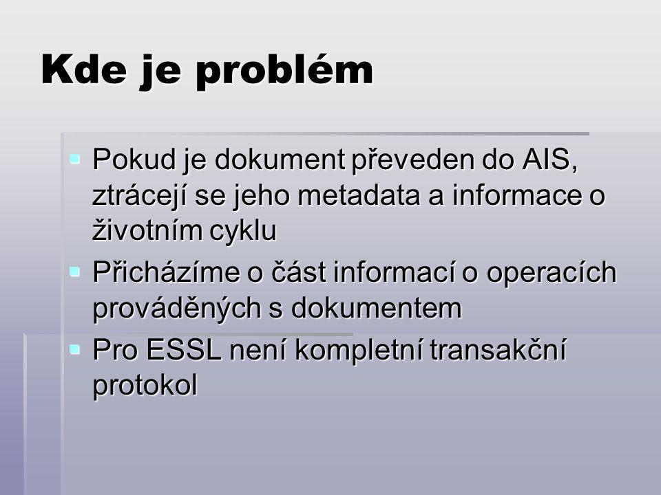 Kde je problém  Pokud je dokument převeden do AIS, ztrácejí se jeho metadata a informace o životním cyklu  Přicházíme o část informací o operacích prováděných s dokumentem  Pro ESSL není kompletní transakční protokol