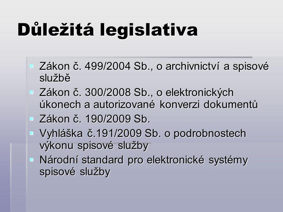 Důležitá legislativa  Zákon č. 499/2004 Sb., o archivnictví a spisové službě  Zákon č.