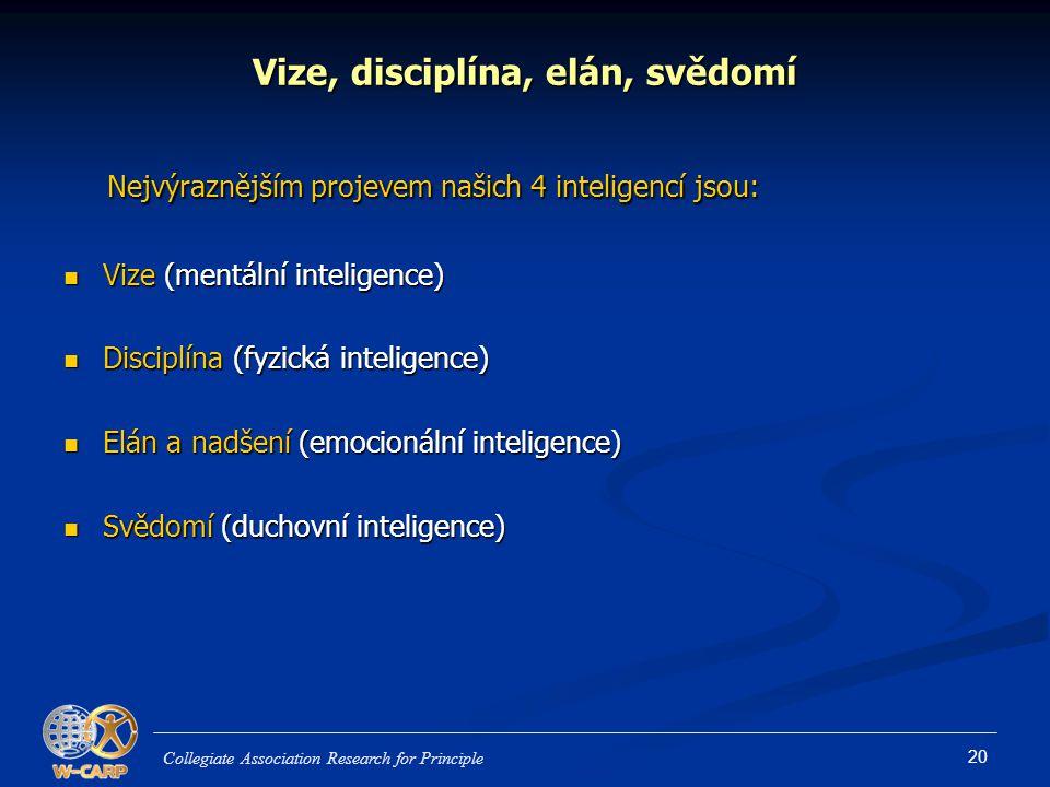 20 Vize, disciplína, elán, svědomí Nejvýraznějším projevem našich 4 inteligencí jsou: Nejvýraznějším projevem našich 4 inteligencí jsou: Vize (mentální inteligence) Vize (mentální inteligence) Disciplína (fyzická inteligence) Disciplína (fyzická inteligence) Elán a nadšení (emocionální inteligence) Elán a nadšení (emocionální inteligence) Svědomí (duchovní inteligence) Svědomí (duchovní inteligence) Collegiate Association Research for Principle