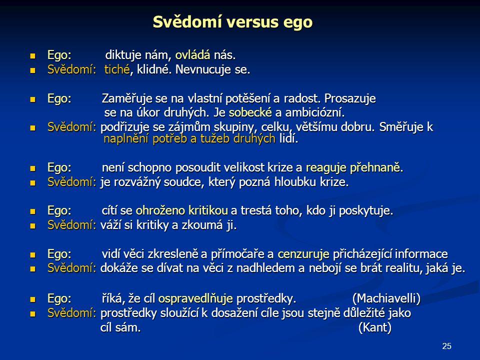 25 Svědomí versus ego Ego: diktuje nám, ovládá nás.