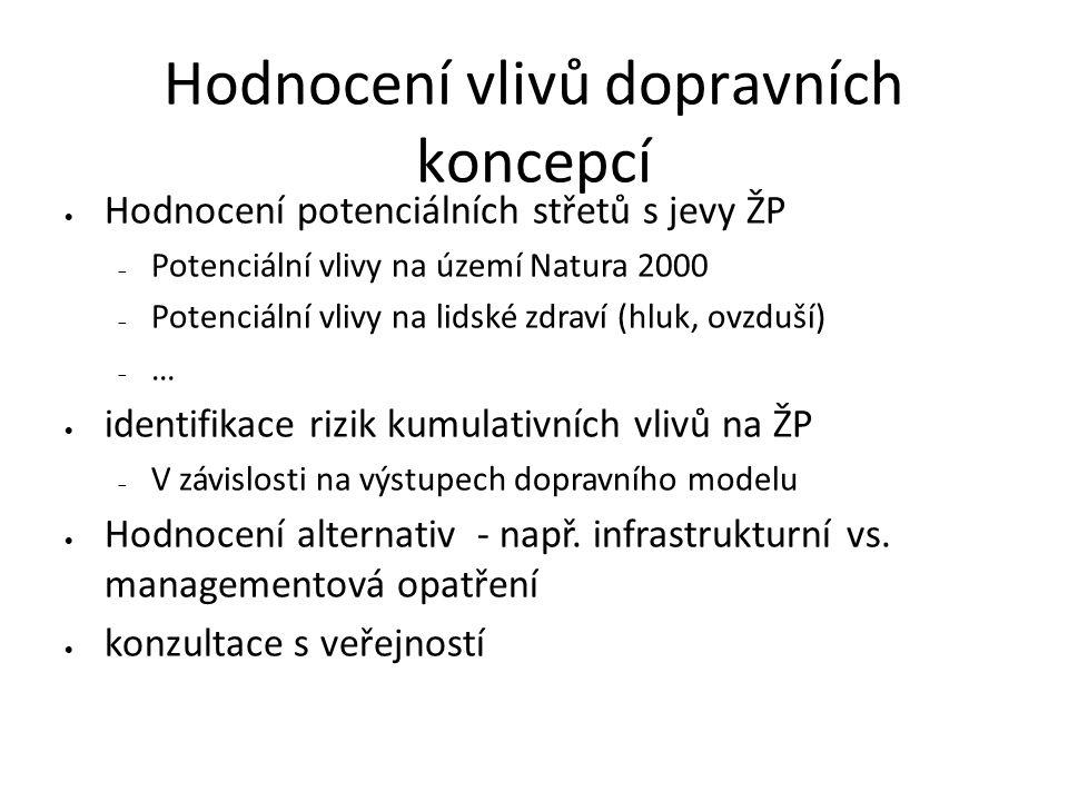 Hodnocení vlivů dopravních koncepcí  Hodnocení potenciálních střetů s jevy ŽP  Potenciální vlivy na území Natura 2000  Potenciální vlivy na lidské zdraví (hluk, ovzduší)  …  identifikace rizik kumulativních vlivů na ŽP  V závislosti na výstupech dopravního modelu  Hodnocení alternativ - např.