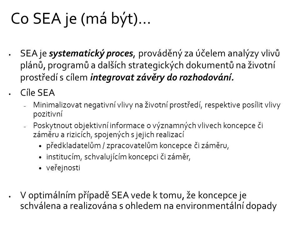 Co SEA je (má být)…  SEA je systematický proces, prováděný za účelem analýzy vlivů plánů, programů a dalších strategických dokumentů na životní prostředí s cílem integrovat závěry do rozhodování.