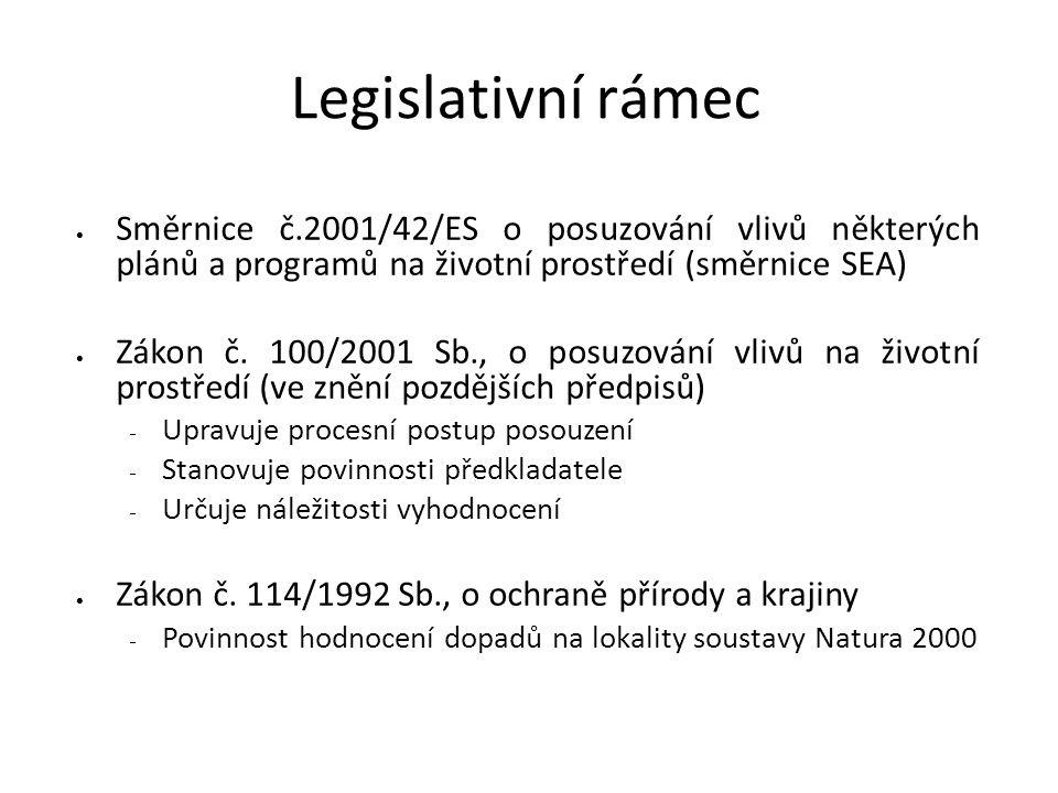 Legislativní rámec  Směrnice č.2001/42/ES o posuzování vlivů některých plánů a programů na životní prostředí (směrnice SEA)  Zákon č.