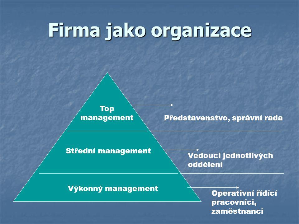 Firma jako organizace Výkonný management Střední management Top management Představenstvo, správní rada Vedoucí jednotlivých oddělení Operativní řídíc