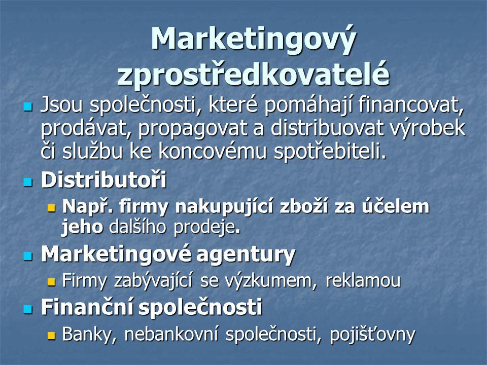 Marketingový zprostředkovatelé Jsou společnosti, které pomáhají financovat, prodávat, propagovat a distribuovat výrobek či službu ke koncovému spotřeb