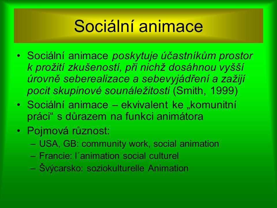 """Sociální animace Sociální animace poskytuje účastníkům prostor k prožití zkušeností, při nichž dosáhnou vyšší úrovně seberealizace a sebevyjádření a zažijí pocit skupinové sounáležitosti (Smith, 1999) Sociální animace – ekvivalent ke """"komunitní práci s důrazem na funkci animátora Pojmová různost: –USA, GB: community work, social animation –Francie: l´animation social culturel –Švýcarsko: soziokulturelle Animation"""