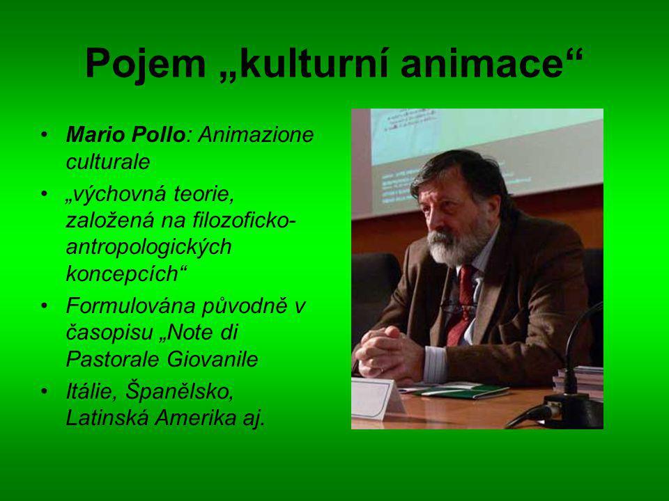 """Pojem """"kulturní animace Mario Pollo: Animazione culturale """"výchovná teorie, založená na filozoficko- antropologických koncepcích Formulována původně v časopisu """"Note di Pastorale Giovanile Itálie, Španělsko, Latinská Amerika aj."""