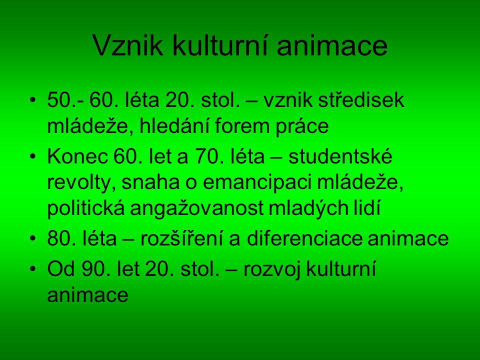 Vznik kulturní animace 50.- 60.léta 20. stol.