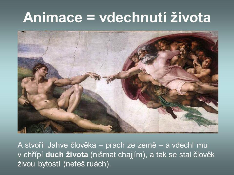 Animace = vdechnutí života A stvořil Jahve člověka – prach ze země – a vdechl mu v chřípí duch života (nišmat chajjím), a tak se stal člověk živou bytostí (nefeš ruách).