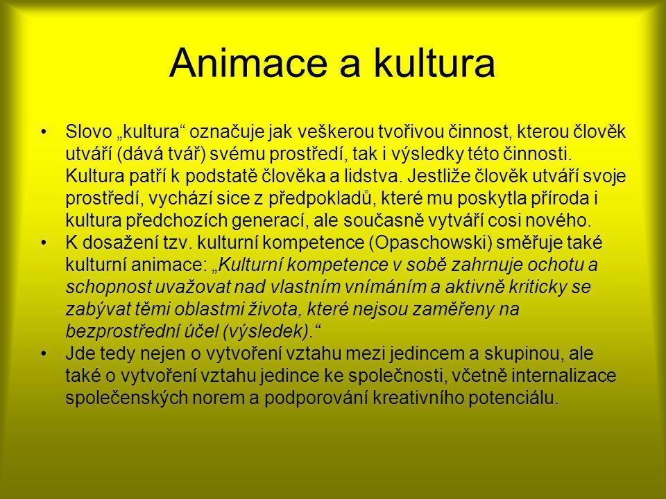 Rozdělení animace Animace v sociální práci a ve výchově Animace jako metoda sociální práce Animation social (l´animation social culturel) = komunitní práce L´animation socio-culturel = umožňování sociální participace Animace jako výchovná metoda L´animazione culturale = výchovný přístup založený na vztazích Freizeitkulturelle Animation = specifická metoda pedagogiky volného času
