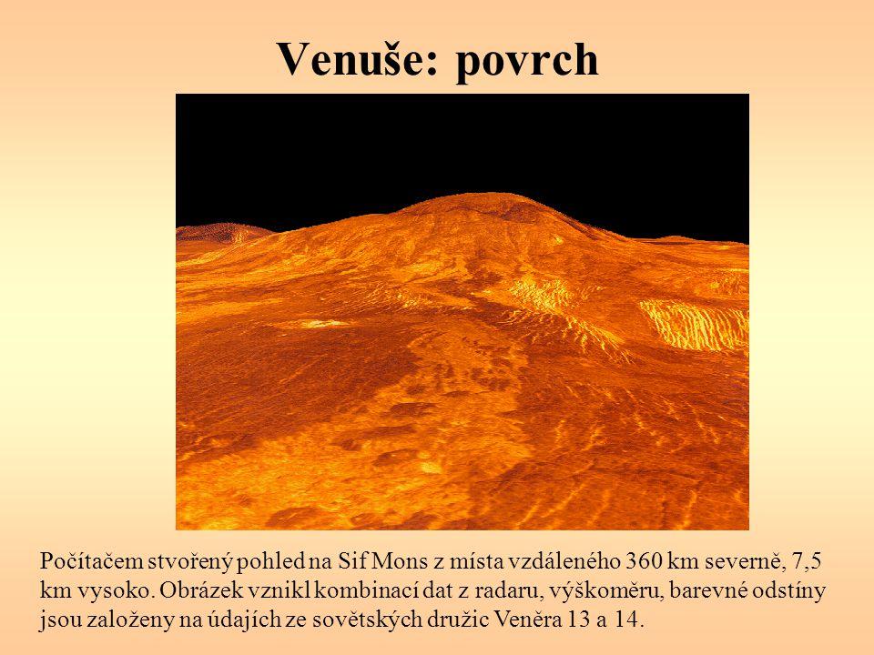 Venuše: povrch Počítačem stvořený pohled na Sif Mons z místa vzdáleného 360 km severně, 7,5 km vysoko. Obrázek vznikl kombinací dat z radaru, výškoměr