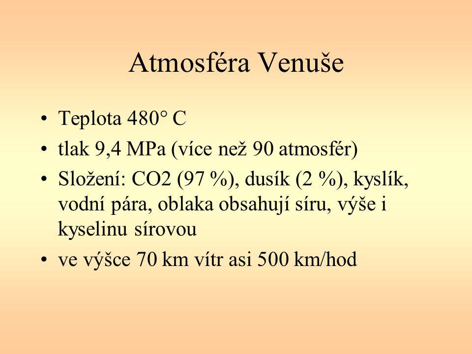 Atmosféra Venuše Teplota 480° C tlak 9,4 MPa (více než 90 atmosfér) Složení: CO2 (97 %), dusík (2 %), kyslík, vodní pára, oblaka obsahují síru, výše i