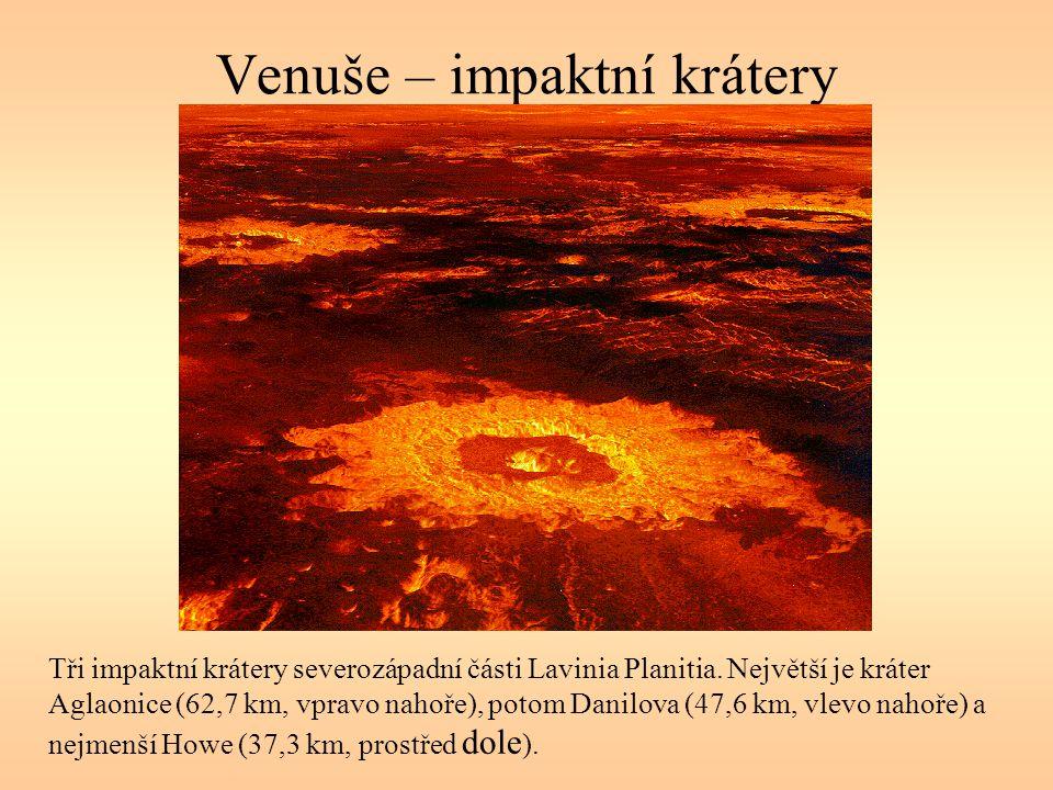 Venuše – impaktní krátery Tři impaktní krátery severozápadní části Lavinia Planitia. Největší je kráter Aglaonice (62,7 km, vpravo nahoře), potom Dani