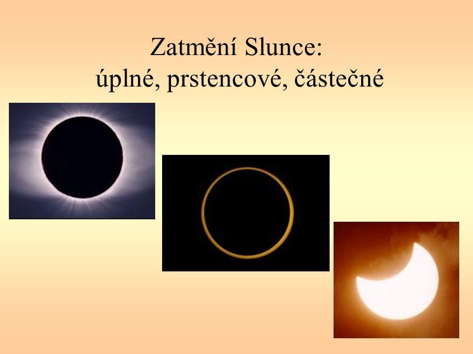 Zatmění Slunce: úplné, prstencové, částečné