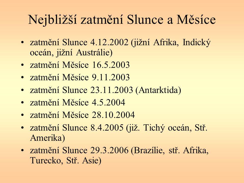 Nejbližší zatmění Slunce a Měsíce zatmění Slunce 4.12.2002 (jižní Afrika, Indický oceán, jižní Austrálie) zatmění Měsíce 16.5.2003 zatmění Měsíce 9.11
