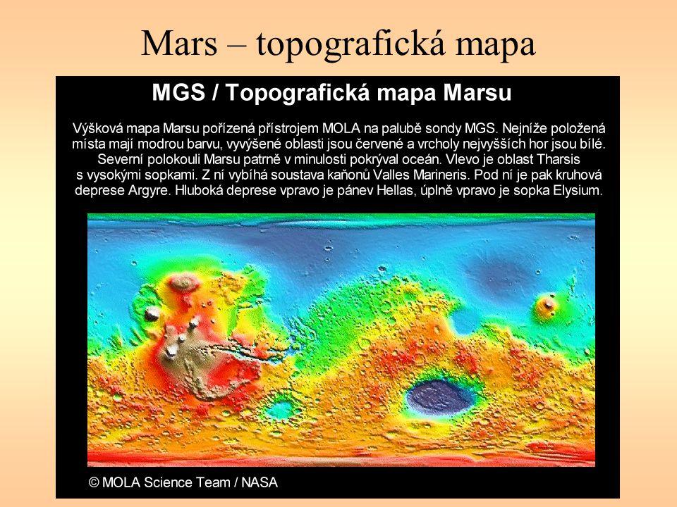 Mars – topografická mapa