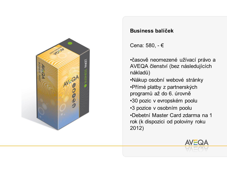 Business balíček Cena: 580, - € časově neomezené užívací právo a AVEQA členství (bez následujících nákladů) Nákup osobní webové stránky Přímé platby z partnerských programů až do 6.