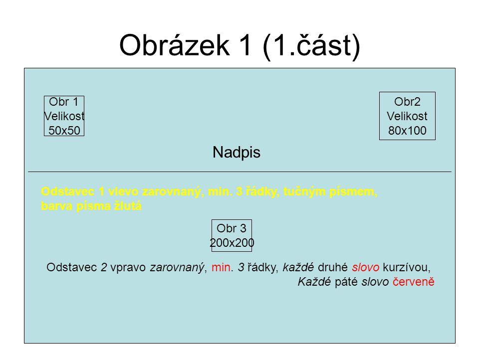 Obrázek 1 (1.část) Obr 1 Velikost 50x50 Obr2 Velikost 80x100 Nadpis Odstavec 1 vlevo zarovnaný, min. 3 řádky, tučným písmem, barva písma žlutá Obr 3 2