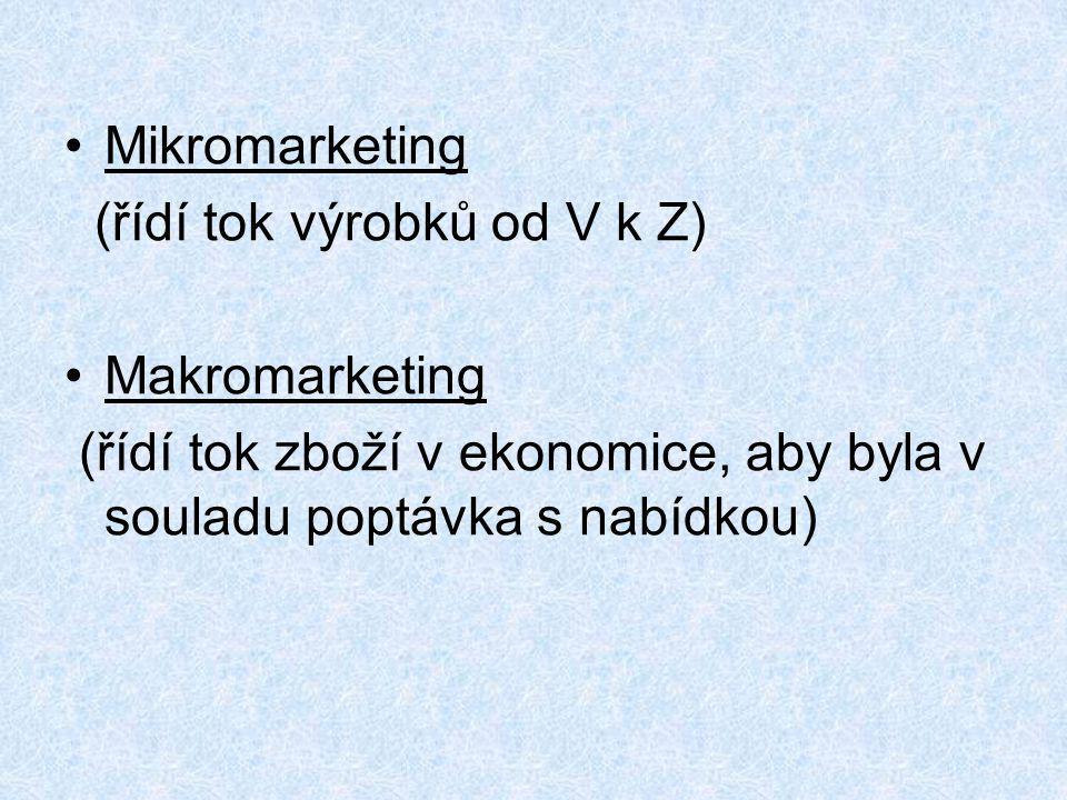 Mikromarketing (řídí tok výrobků od V k Z) Makromarketing (řídí tok zboží v ekonomice, aby byla v souladu poptávka s nabídkou)