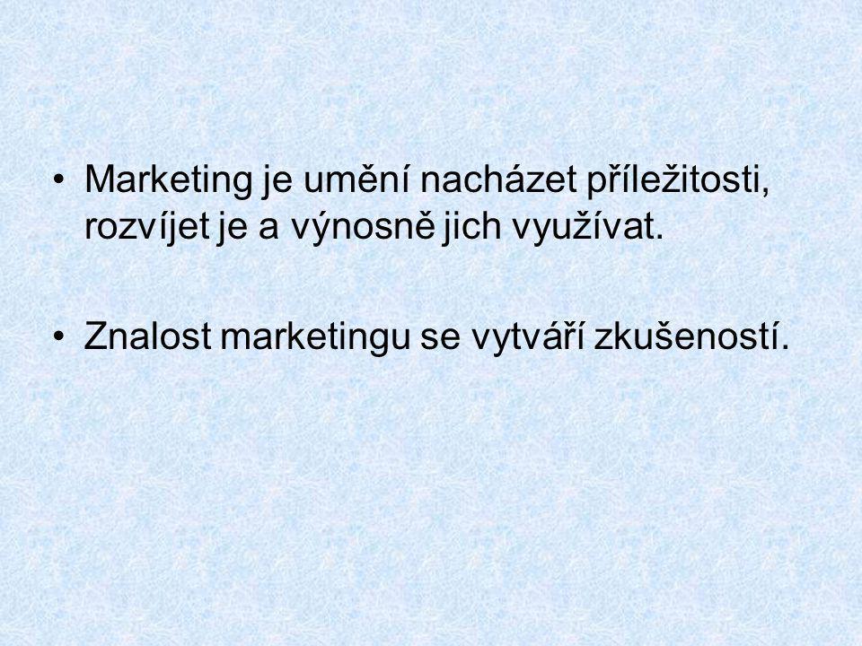 Marketing je umění nacházet příležitosti, rozvíjet je a výnosně jich využívat. Znalost marketingu se vytváří zkušeností.