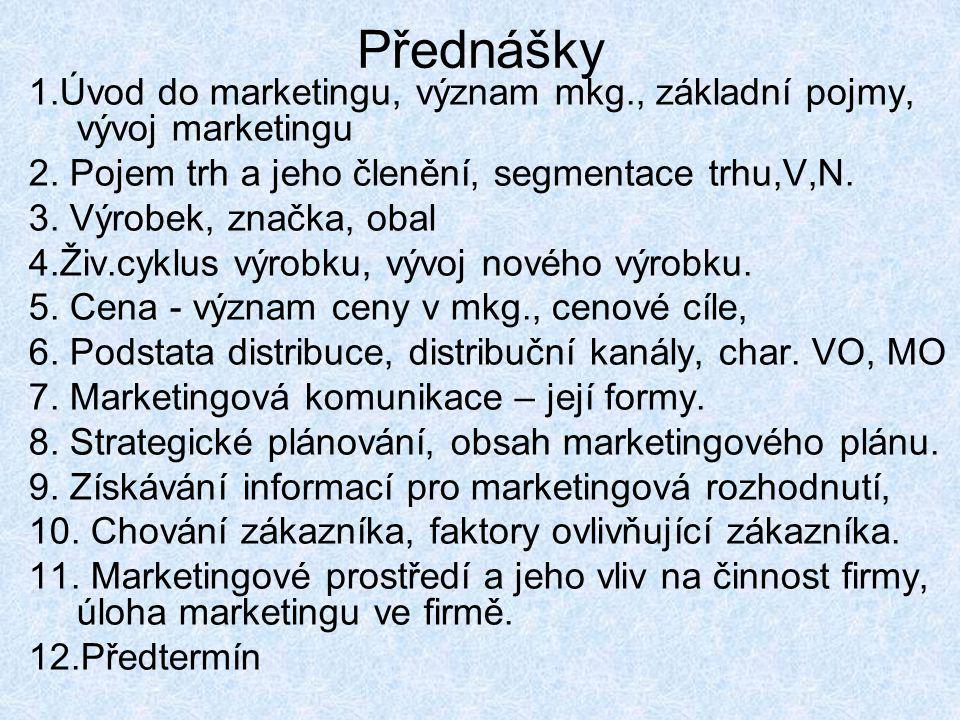 Přednášky 1.Úvod do marketingu, význam mkg., základní pojmy, vývoj marketingu 2. Pojem trh a jeho členění, segmentace trhu,V,N. 3. Výrobek, značka, ob