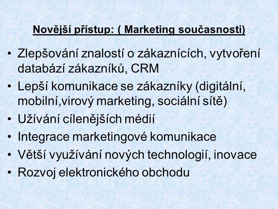 Novější přístup: ( Marketing současnosti) Zlepšování znalostí o zákaznících, vytvoření databází zákazníků, CRM Lepší komunikace se zákazníky (digitáln