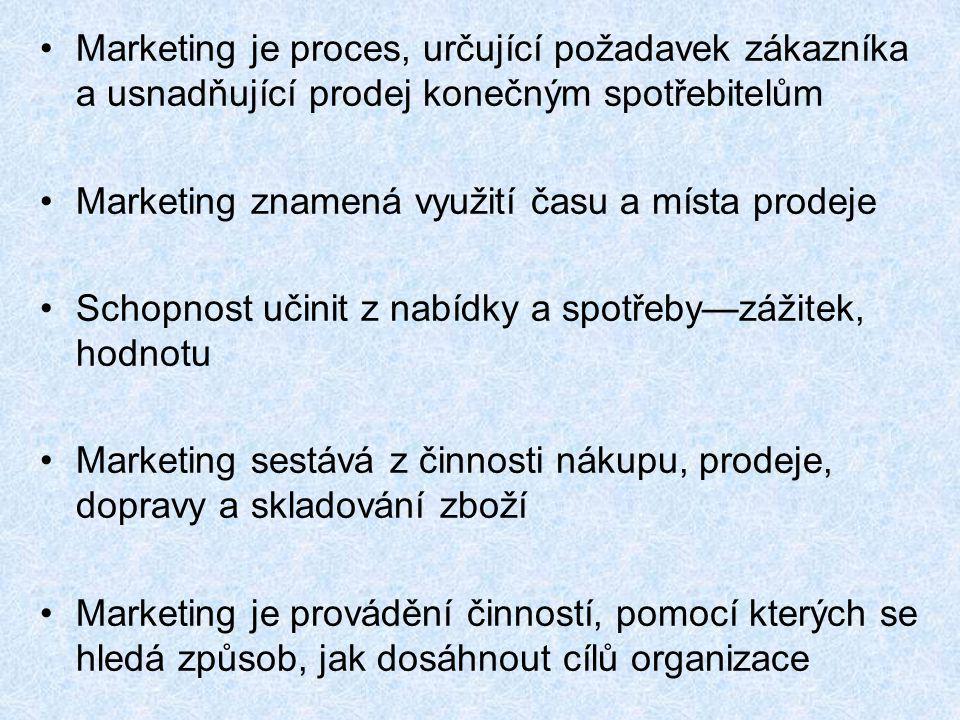 Marketing je proces, určující požadavek zákazníka a usnadňující prodej konečným spotřebitelům Marketing znamená využití času a místa prodeje Schopnost