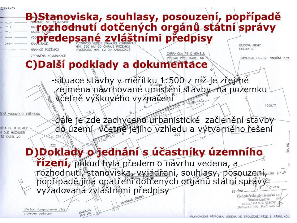 A)Situační výkres - je zde na podkladě pozemkové mapy zachycen současný stav se zakreslením polohy stavby a vyznačením vazeb na okolí (odstupy od sous