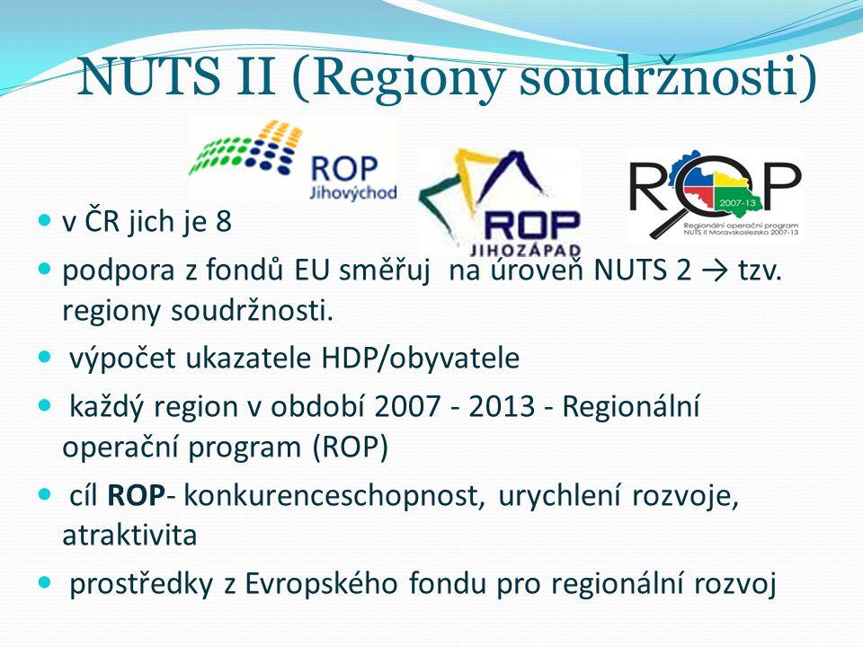 NUTS II (Regiony soudržnosti) v ČR jich je 8 podpora z fondů EU směřuj na úroveň NUTS 2 → tzv. regiony soudržnosti. výpočet ukazatele HDP/obyvatele ka