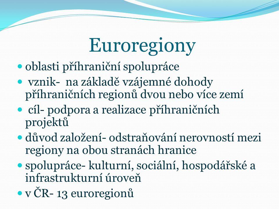 Euroregiony oblasti příhraniční spolupráce vznik- na základě vzájemné dohody příhraničních regionů dvou nebo více zemí cíl- podpora a realizace příhra
