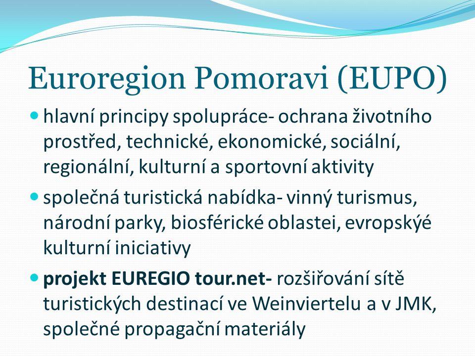 Euroregion Pomoravi (EUPO) hlavní principy spolupráce- ochrana životního prostřed, technické, ekonomické, sociální, regionální, kulturní a sportovní a