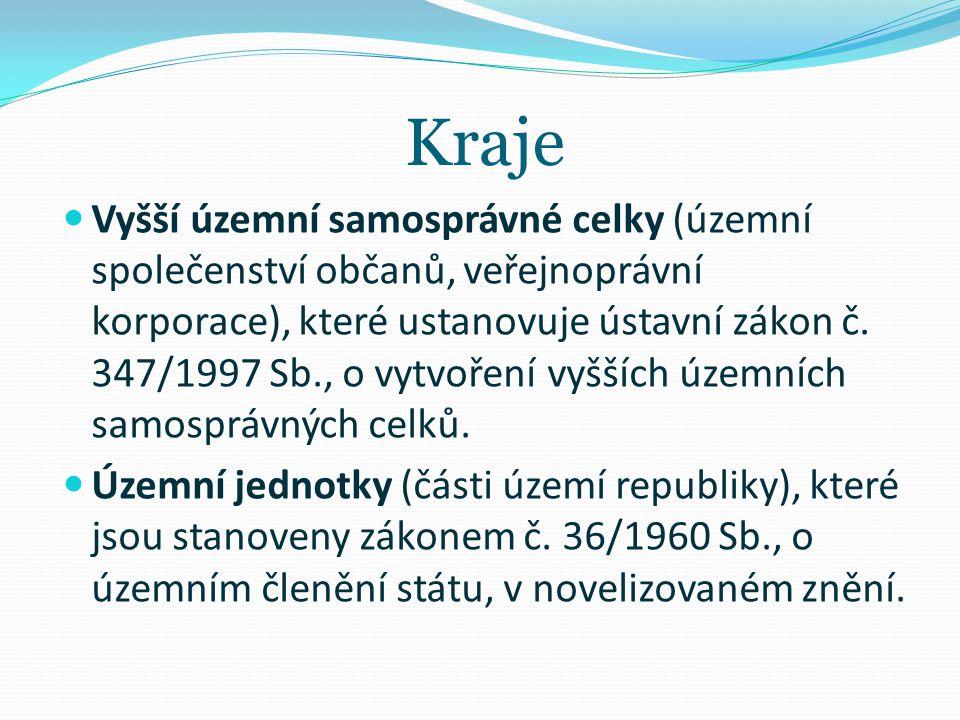 Kraje Vyšší územní samosprávné celky (územní společenství občanů, veřejnoprávní korporace), které ustanovuje ústavní zákon č. 347/1997 Sb., o vytvořen