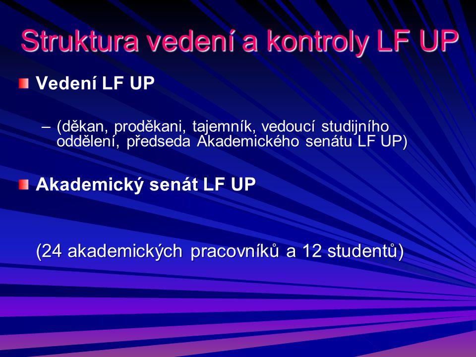 Struktura vedení a kontroly LF UP Vedení LF UP –(děkan, proděkani, tajemník, vedoucí studijního oddělení, předseda Akademického senátu LF UP) Akademic