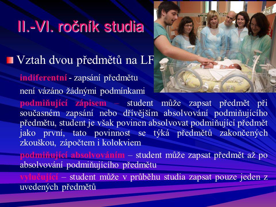 II.-VI. ročník studia Vztah dvou předmětů na LF indiferentní - zapsání předmětu není vázáno žádnými podmínkami podmiňující zápisem – student může zaps