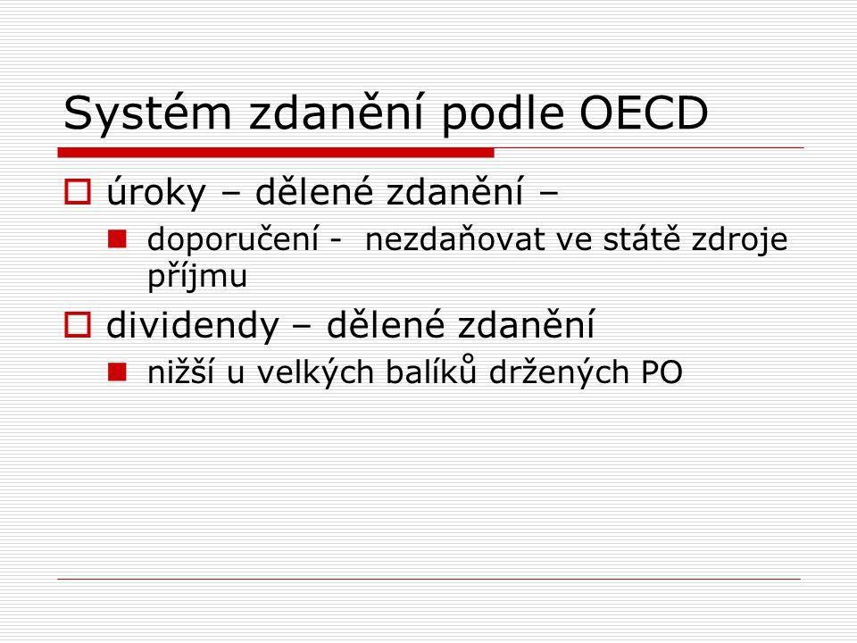 Systém zdanění podle OECD  úroky – dělené zdanění – doporučení - nezdaňovat ve státě zdroje příjmu  dividendy – dělené zdanění nižší u velkých balík
