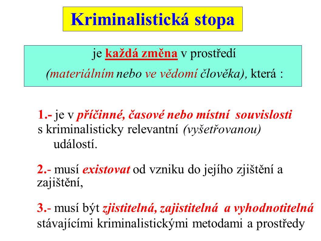 Kriminalistická stopa je každá změna v prostředí (materiálním nebo ve vědomí člověka), která : 1.- je v příčinné, časové nebo místní souvislosti s kriminalisticky relevantní (vyšetřovanou) událostí.