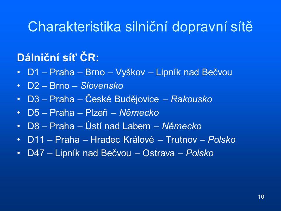 10 Charakteristika silniční dopravní sítě Dálniční síť ČR: D1 – Praha – Brno – Vyškov – Lipník nad Bečvou D2 – Brno – Slovensko D3 – Praha – České Bud