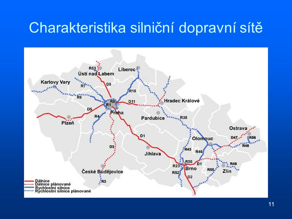 11 Charakteristika silniční dopravní sítě