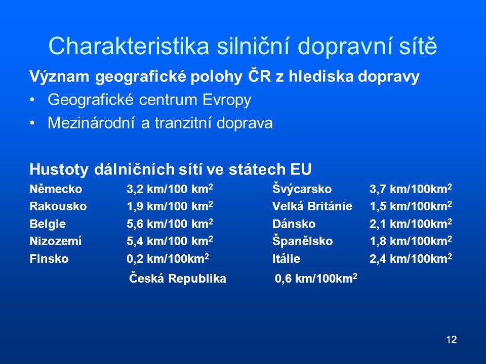 12 Charakteristika silniční dopravní sítě Význam geografické polohy ČR z hlediska dopravy Geografické centrum Evropy Mezinárodní a tranzitní doprava H