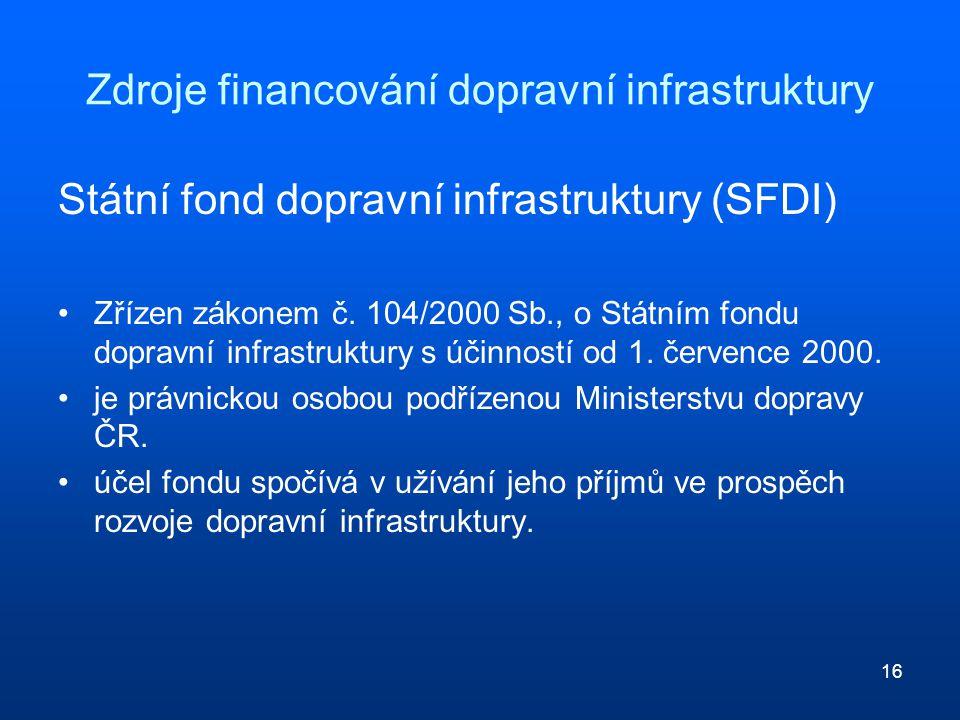 16 Zdroje financování dopravní infrastruktury Státní fond dopravní infrastruktury (SFDI) Zřízen zákonem č. 104/2000 Sb., o Státním fondu dopravní infr