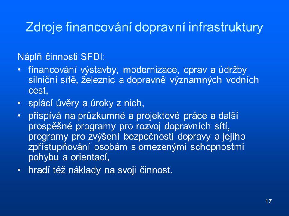 17 Zdroje financování dopravní infrastruktury Náplň činnosti SFDI: financování výstavby, modernizace, oprav a údržby silniční sítě, železnic a dopravn