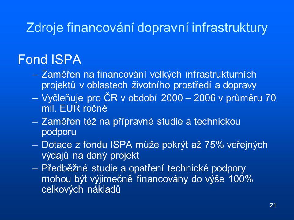 21 Zdroje financování dopravní infrastruktury Fond ISPA –Zaměřen na financování velkých infrastrukturních projektů v oblastech životního prostředí a d