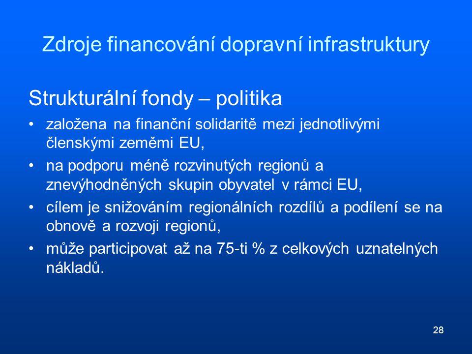 28 Zdroje financování dopravní infrastruktury Strukturální fondy – politika založena na finanční solidaritě mezi jednotlivými členskými zeměmi EU, na podporu méně rozvinutých regionů a znevýhodněných skupin obyvatel v rámci EU, cílem je snižováním regionálních rozdílů a podílení se na obnově a rozvoji regionů, může participovat až na 75-ti % z celkových uznatelných nákladů.