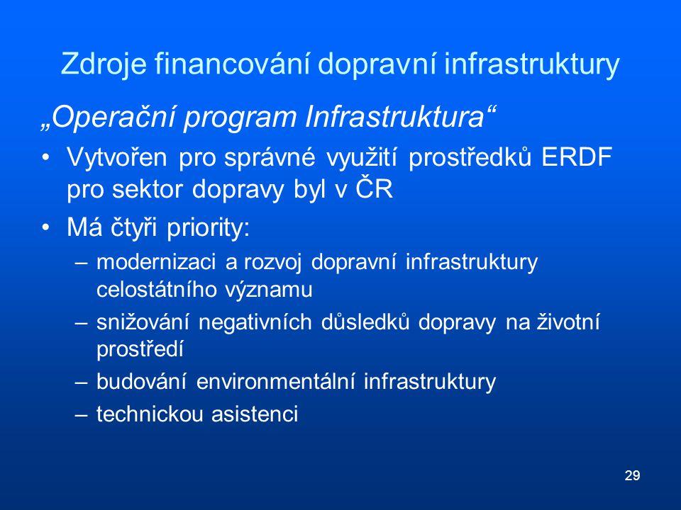"""29 Zdroje financování dopravní infrastruktury """"Operační program Infrastruktura"""" Vytvořen pro správné využití prostředků ERDF pro sektor dopravy byl v"""