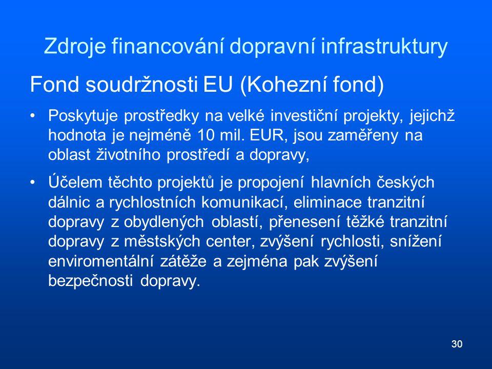 30 Zdroje financování dopravní infrastruktury Fond soudržnosti EU (Kohezní fond) Poskytuje prostředky na velké investiční projekty, jejichž hodnota je nejméně 10 mil.