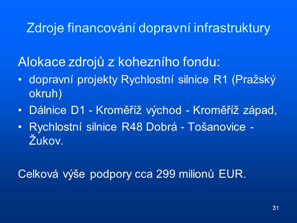 31 Zdroje financování dopravní infrastruktury Alokace zdrojů z kohezního fondu: dopravní projekty Rychlostní silnice R1 (Pražský okruh) Dálnice D1 - Kroměříž východ - Kroměříž západ, Rychlostní silnice R48 Dobrá - Tošanovice - Žukov.