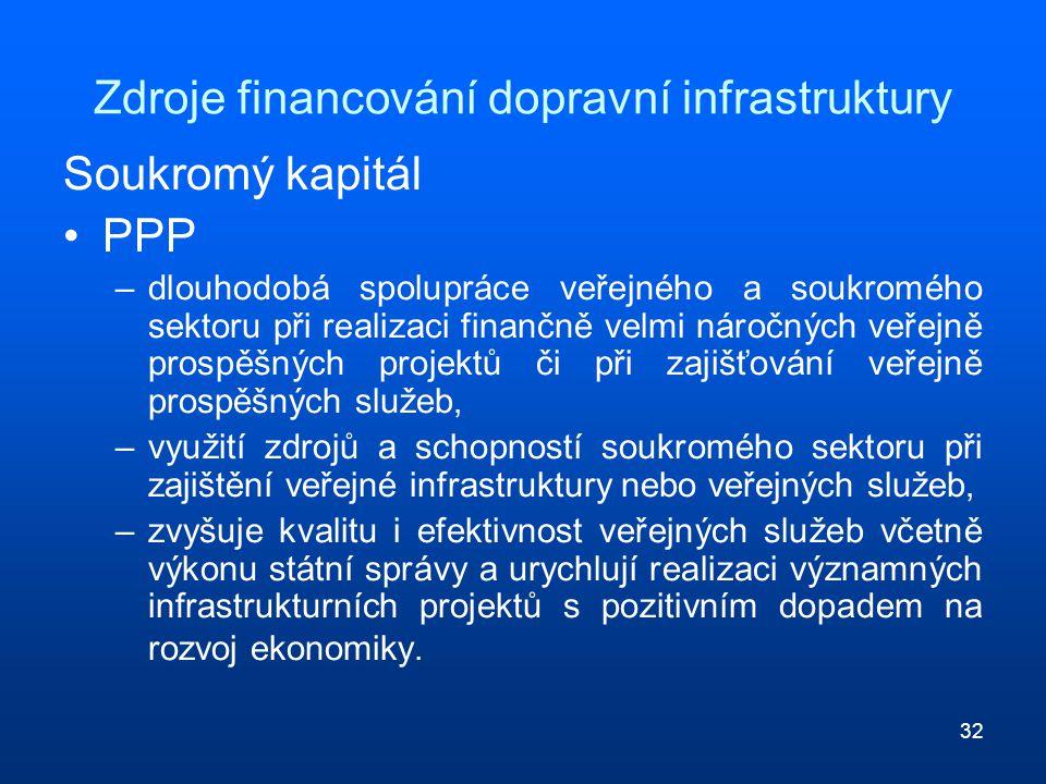 32 Zdroje financování dopravní infrastruktury Soukromý kapitál PPP –dlouhodobá spolupráce veřejného a soukromého sektoru při realizaci finančně velmi náročných veřejně prospěšných projektů či při zajišťování veřejně prospěšných služeb, –využití zdrojů a schopností soukromého sektoru při zajištění veřejné infrastruktury nebo veřejných služeb, –zvyšuje kvalitu i efektivnost veřejných služeb včetně výkonu státní správy a urychlují realizaci významných infrastrukturních projektů s pozitivním dopadem na rozvoj ekonomiky.