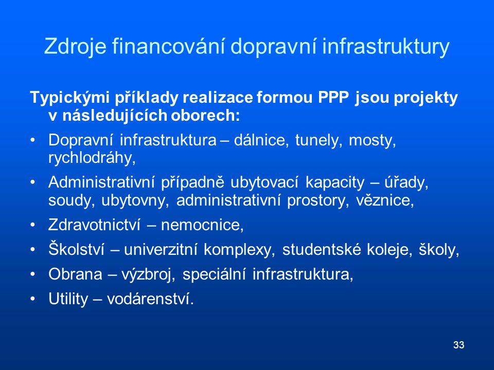33 Zdroje financování dopravní infrastruktury Typickými příklady realizace formou PPP jsou projekty v následujících oborech: Dopravní infrastruktura –
